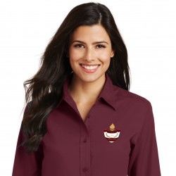 Burgundy Ladies 3/4 Sleeve Shirt