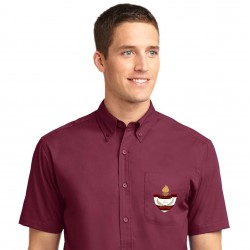 Burgundy Men's Short Sleeve Easy Care Shirt