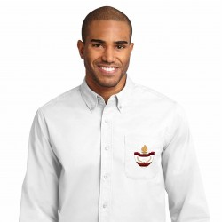 White Men's Long Sleeve Easy Care Shirt